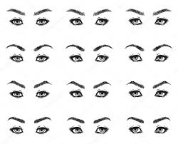 icons set female eyes look with long eyelashes and eyebrows diffe shapes look ahead to the left to the right black and white to show the make up design