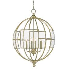 9000 0070 currey and company broxton orb 4 light chandelier in a silver leaf finish