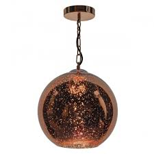 speckled copper glass globe ceiling pendant