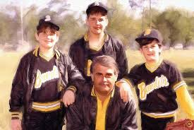 baseball dad and sons portrait painting c home