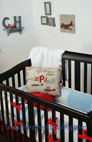 chicago bears crib bedding vintage airplane with red and blue grey fabrics set