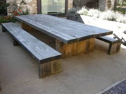 large and long diy rustic solid wood picnic table with detached bench seat made from reclaimed wood ideas