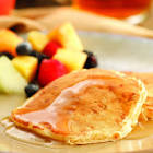 apple bacon pancakes with cider syrup