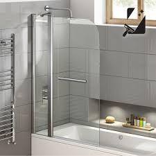 1000mm pivot easy clean shower screen bath glass panel towel rail bh01000r