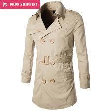 Drop ShippingMens Slim Fit <b>Trench Coat Long</b> Section Outwear ...