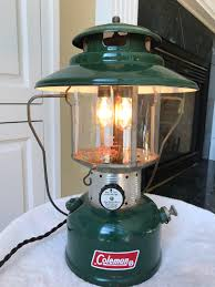 Electric Dimmable Lighted Vintage Big Hat Coleman Lantern Table Lamp