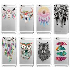 Dream Catcher Case Iphone 7 Plus Fashion Boho Dream Catcher Wolf Feather skull Soft TPU Phone Case 23