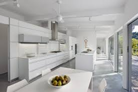 track lighting white. Modern White California Kitchen Design With Track Lighting And Ceiling Fan Also Dining Set N