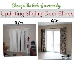super easy home update replace those sliding blinds with a curtain pertaining to rod for glass door designs 16