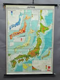 World Population Wall Chart Vintage Map Rollable Weather Wall Chart Japan Rainfall