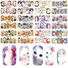 Online Shop <b>48pcs</b>/<b>set</b> Cute Animal Full Wrap <b>Nails</b> Decals Water ...