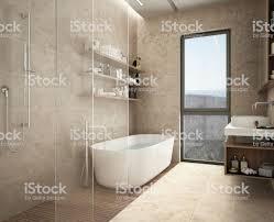 Moderne Kalkstein Bad Badewanne Und Dusche Regale Mit Flaschen Große