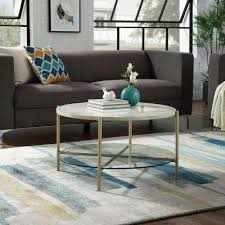 white marble top glass shelf gold legs round coffee table