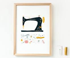 art print vintage sewing machine sewing