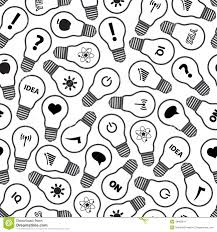 pattern idea light bulb symbols with various idea icons pattern stock vector