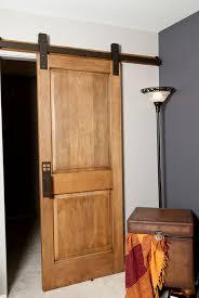 image of interior barn door for bathroom