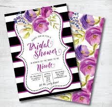 Black And Purple Invitations Purple Bridal Shower Invitation Black And White Bridal