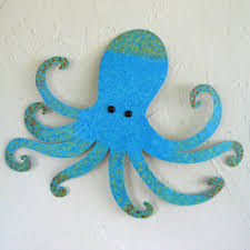 Upcycled Wall Art Custom Handmade Upcycled Metal Blue Octopus Wall Art Sculpture By