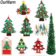 ourwarm artificial tree new year s s kids toys diy felt xmas tree 2018 home decoration accessories garland