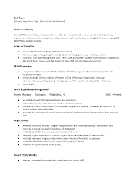 Free Project Manager Resume Template Sample Ms Word