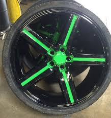 custom alloy mag wheel with green accent