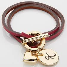 personalized leather wrap charm bracelet pink 15276d