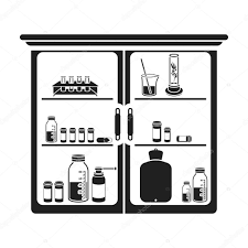 cupboard clipart black and white. cupboard with medicines icon in black style isolated on white background. medicine and hospital symbol clipart