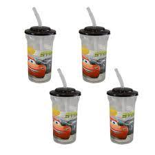 Zak Designs Straws Zak Designs 4 Pack Disney Pixar Cars 16oz Sports Tumbler Cups With Black Lids And Flex Straws Clear Multi