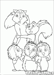 Small Picture Coloring page Skunk squirrel and porcupine