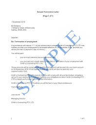 Example Letter Of Termination Termination Letter Notice Or Payment In Lieu Free