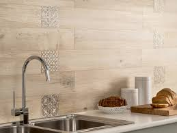 Kitchen Tiled Walls Light Wooden Tiled Kitchen Splashback Closeup Interior