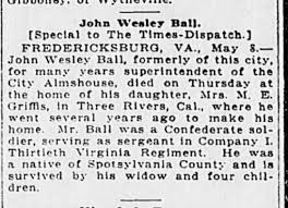 John Wesley Ball -- not sure if my relations - Newspapers.com