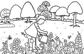 Small Picture Little Girl Pouring Water in Garden Coloring Pages Color Luna