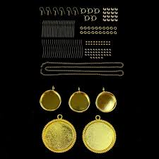 glittering gold gold plated round bezel pendants and gold plated findings pack 150pcs