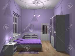 Small Purple Bedroom 3d Render Of Small Purple Bedroom Stock Photo Picture And Royalty