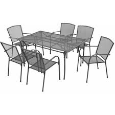 outdoor dining set steel anthracite 7