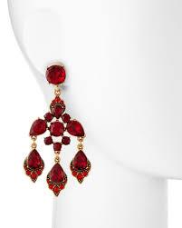 cardinal red crystal chandelier clip on earrings