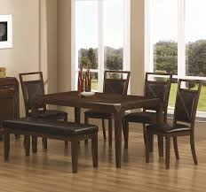 dining set only 499 rectangular table top shows off radiant dark wood finish shaved table corners add a touch of unique style while promoting safety