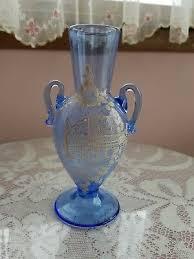 handpainted murano venice blue glass vase vintage antique gorgeous