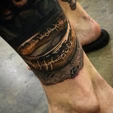 цветная тату на спину голову руку в тематике тату по фильму