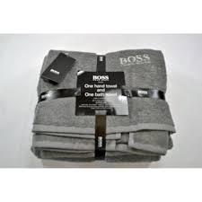 hugo boss designer piece hand and bath towel bale set frost grey