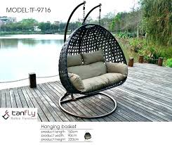 wicker swing chair outdoor furniture co patio double sitting with stand wicker swing chair