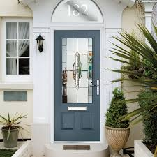 exterior shot of dark blue front door white home exterior