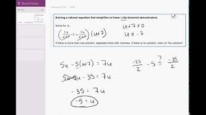p 03 07 solving a rational equation that simplifies to linear like binomial denominators
