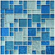 galaxie blue blend mixed glossy and iridescent glass pool tile