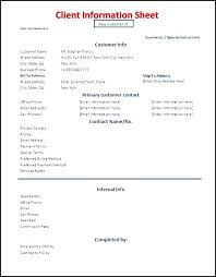 client information sheet template information sheet template client information form template the