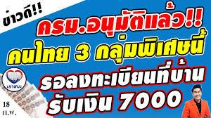 ข่าวดี!! คนไทย3กลุ่มพิเศษนี้ มีสิทธิลงทะเบียนรับเงิน7000เราชนะที่บ้าน  ไม่ต้องไปแบงค์ มีใครบ้างดูเลย - YouTube