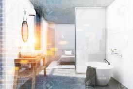 Weißer Badezimmerinnenraum Mit Einem Konkreten Fußboden Einem