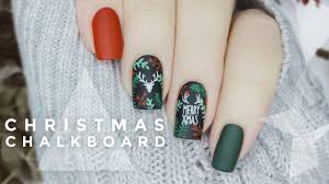DIY Christmas Floral & Deer Silhouette Chalkboard Manicure ...