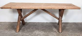 log dining table legs rustic american dining farm table with x base at 1stdibs